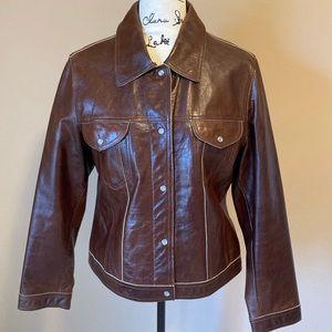 Vintage Western Leather Bomber Jacket - size XL